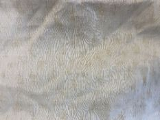 A PAIR OF LARGE CREAM LINEN LINED CURTAINS each approximately 560cm wide at the bottom x 260cm