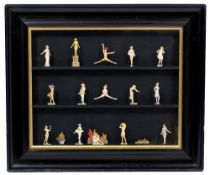 20TH CENTURY SCHOOL, NUDE COLLAGE, watercolour, each figure cut out and mounted in an ebonised