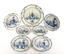 A GROUP OF SEVEN 18TH CENTURY PEARLWARE PLATES of similar form, all decorated with an oriental