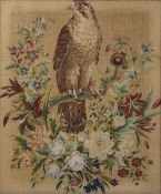 A VICTORIAN NEEDLEWORK PICTURE depicting a falcon resting on a flowering branch and set within a