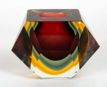 A 1960's/70's MURANO SOMMERSO FACETED GLASS VASE 19cm wide x 9.2cm deep x 14cm high Condition: