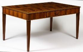 A YEW WOOD OYSTER VENEERED RECTANGULAR WRITING TABLE with single frieze drawer and square tapering