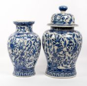A CHINESE PORCELAIN BLUE AND WHITE LIDDED BALUSTER VASE 26cm diameter x 49cm high together with a