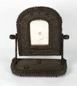 A 19TH CENTURY AMERICAN TRAMP ART DRESSING TABLE MIRROR 60cm wide x 26cm deep x 74cm high Condition: