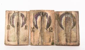 A GROUP OF THREE PRESSED CERAMIC PLAQUES washed with matt and luster oxides, each signed 'Koz' and