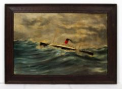 E PRATT (EARLY 20TH CENTURY ENGLISH SCHOOL) Steam ship in a choppy sea, oil on canvas, signed