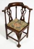 AN 18TH CENTURY STYLE MAHOGANY CHILD'S CORNER CHAIR stamped 'H Samuel 484 Oxford Street, London'