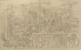 EARLY TO MID 20TH CENTURY SCHOOL Cartoon for a steel industry mural, pencil on paper, unsigned, 33cm