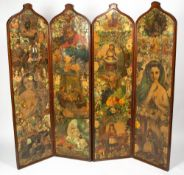 A VICTORIAN MAHOGANY FRAMED FOUR FOLD GOTHIC STYLE SCRAP SCREEN with shaped tops to each section,