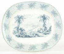 A VICTORIAN POTTERY MEAT PLATTER of American interest, the front decorated with a view of Boston and