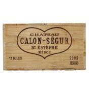 CHATEAU CALON-SEGUER St Estephe 2005, 12 bottles Sealed in original pine crate, held in bond then