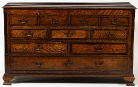 A GEORGE III OAK MULE CHEST with a lifting top, four faux drawers, three short drawers, two long