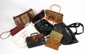 NINE LADIES HANDBAGS to include a Gucci green suede purse, 21cm wide x 14.5cm high; a Balencaga