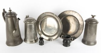 A COLLECTION OF ANTIQUE PEWTER to include a Wadham College Challenge 4's trophy tankard inscribed '