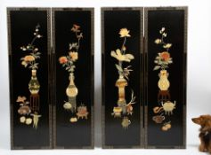 A SET OF FOUR LATE 20TH CENTURY CHINESE LACQUERED PANELS with painted inlay decoration, each 40.