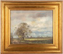 EDWARD STAMP two Northamptonshire landscapes, each oil on panel, the largest 19cm x 24.5cm, both