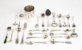 A GEORGE III SILVER DESSERT FORK in the old English pattern together with a silver jam spoon and a