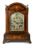 A LATE 19TH / EARLY 20TH CENTURY ROSEWOOD AND SATINWOOD INLAID BRACKET CLOCK the silvered and