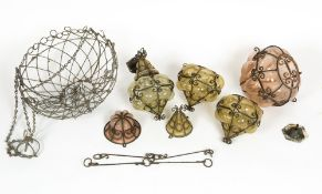 FOUR MID TO LATE 20TH CENTURY BULBOUS GLASS HANGING LIGHT FITTINGS the largest 22cm wide x 28cm high