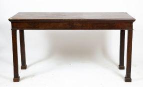A GEORGIAN MAHOGANY SERVING TABLE 152cm wide x 58cm deep x 81.5cm high Condition: one edge block