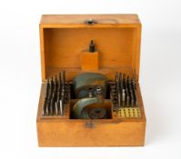 A MID 20TH CENTURY BOLEY WATCH/CLOCK MAKERS STAKING TOOL SET the box 21.5cm wide Condition: five