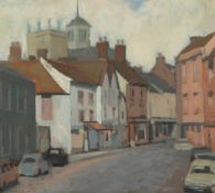 A VIEW OF ABINGDON oil on board, signed P. Osborne, 33.5cm x 38cm, signed and dated '71 lower right,