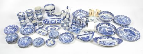 A LARGE COLLECTION OF LATE 20TH / EARLY 21ST CENTURY SPODE ITALIAN PATTERN BLUE AND WHITE CHINA to