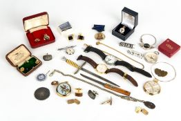 MIXED JEWELLERY AND WATCHES to include a ladies Tissot wristwatch, German made chrome pocket