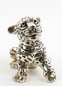 A MEXICAN D'ARGENTI WHITE METAL COVERED COMPOSITE MODEL OF A LEOPARD CUB 23cm wide x 17cm high