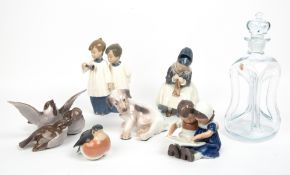 THREE ROYAL COPENHAGEN PORCELAIN FIGURINES to include 1314, 2722 and 402 together with two B & G