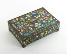AN EARLY 20TH CENTURY CHINESE WHITE METAL BOX with enamel decoration, 16.5cm wide x 11.5cm deep x