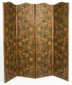 A LATE VICTORIAN EMBOSSED AND PAINTED CARD FOUR FOLD SCREEN with a studded leather border, decorated