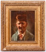 19TH CENTURY CONTINENTAL SCHOOL Gentleman smoking a pipe, oil on panel, unsigned, 20cm x 15.5cm
