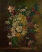 MACONOCHIE still life of flowers in a vase, oil on canvas, signed lower left, 55cm x 45cm, mounted