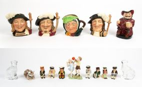 A COLLECTION OF CHARACTER JUGS AND ORNAMENTS to include two Waterford glass cats, a Royal Crown