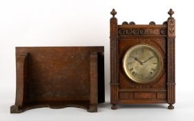 A LATE 19TH / EARLY 20TH CENTURY OAK CASED BRACKET CLOCK the silvered dial with Roman numerals