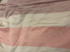 A PAIR OF ORANGE AND GOLD SILK AND LINED CURTAINS approximately 320cm wide at the bottom x 120cm