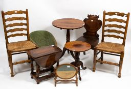 A COLLECTION OF 19TH CENTURY AND LATER OCCASIONAL FURNITURE consisting of a mahogany hall chair with