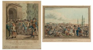 A CONTINENTAL HAND COLOURED PRINT depicting scene number 2 from the Battle of Leipzig, 27.5cm x 36.