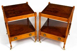 A PAIR OF LATE 20TH / EARLY 21ST CENTURY YEW WOOD VENEERED SQUARE BEDSIDE TABLES or occasional