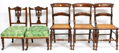 A SET OF FOUR 19TH CENTURY MAHOGANY BALLOON BACK DINING CHAIRS and further various chairs (11)