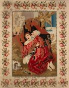 A 19TH CENTURY EMBROIDERED PICTURE depicting Abraham and Issac, worked by Sarah Anne Bailey April
