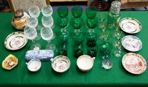 A COLLECTION OF CHINA AND GLASSWARE to include a set of six Waterford glasses, an opalescent green