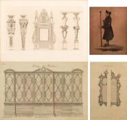 A PAIR OF FRAMED CHIPPENDALE FURNITURE ILLUSTRATION PLATES and a French mantle piece illustration