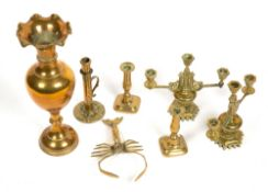 A COLLECTION OF BRASS WARE to include a pair of three branch candelabra, a Palmer & Co patent