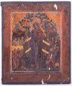 A DECORATIVE ICON in the antique style, 26cm wide x 31.5cm high Condition: the board with old