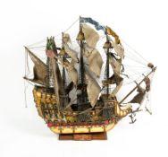 A MID 20TH CENTURY PAINTED MODEL OF THE SANTA MANDA 1582 THREE MASTED GALLEON 82cm wide x 88cm