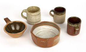 TWO MUCHELNEY WOOD FIRED STONEWARE COFFEE MUGS each 7cm diameter x 8cm high together with further