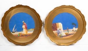 JAMES GREIG (1861-1941) Two North African coastal scenes, watercolours, each 33cm diameter, framed