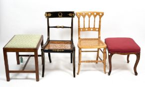 A SMALL GROUP OF OCCASIONAL FURNITURE to include a Regency style black and gilt painted chair with